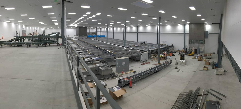 Interior concrete slab at fruit processing facility